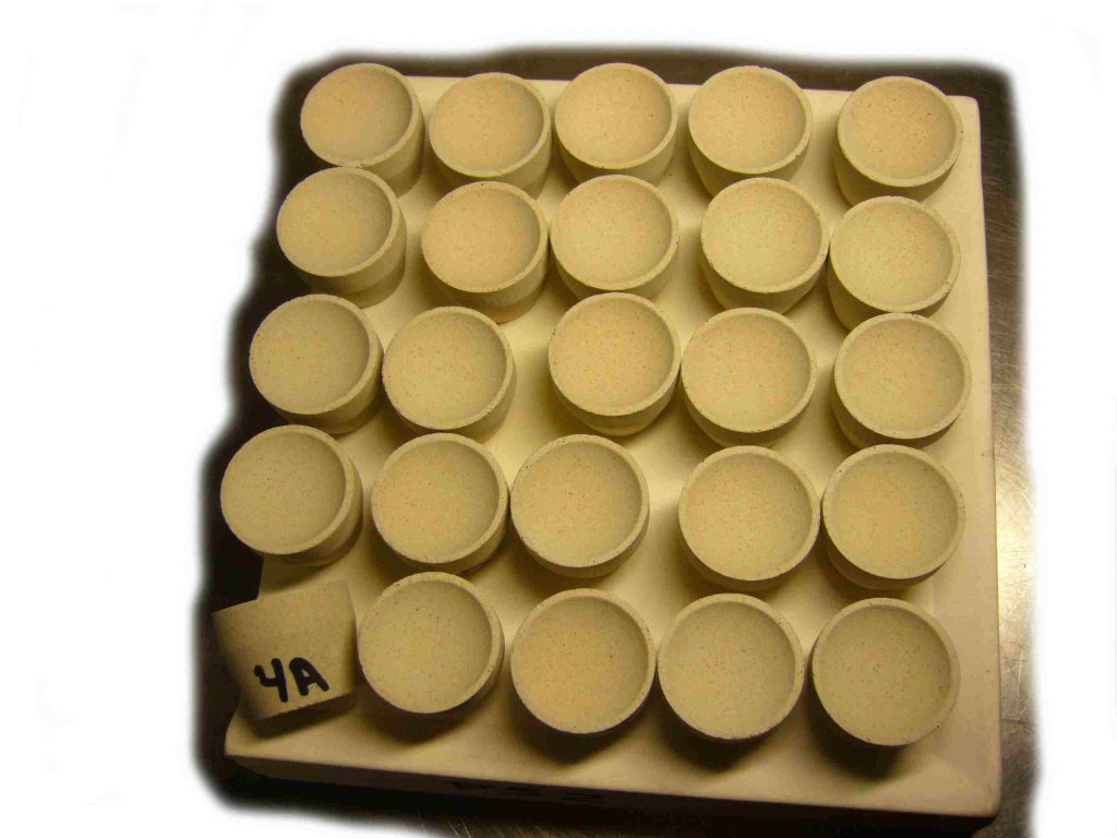 Fire Assay Cupels on cupel tray
