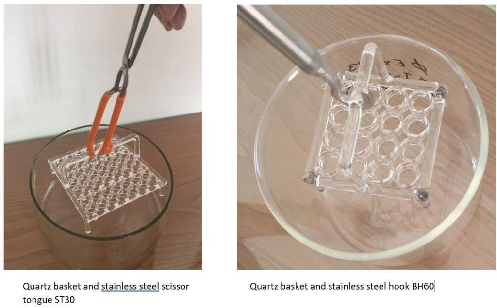 Handling tools for quarz basket